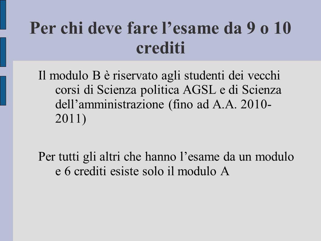 Per chi deve fare l'esame da 9 o 10 crediti Il modulo B è riservato agli studenti dei vecchi corsi di Scienza politica AGSL e di Scienza dell'amminist
