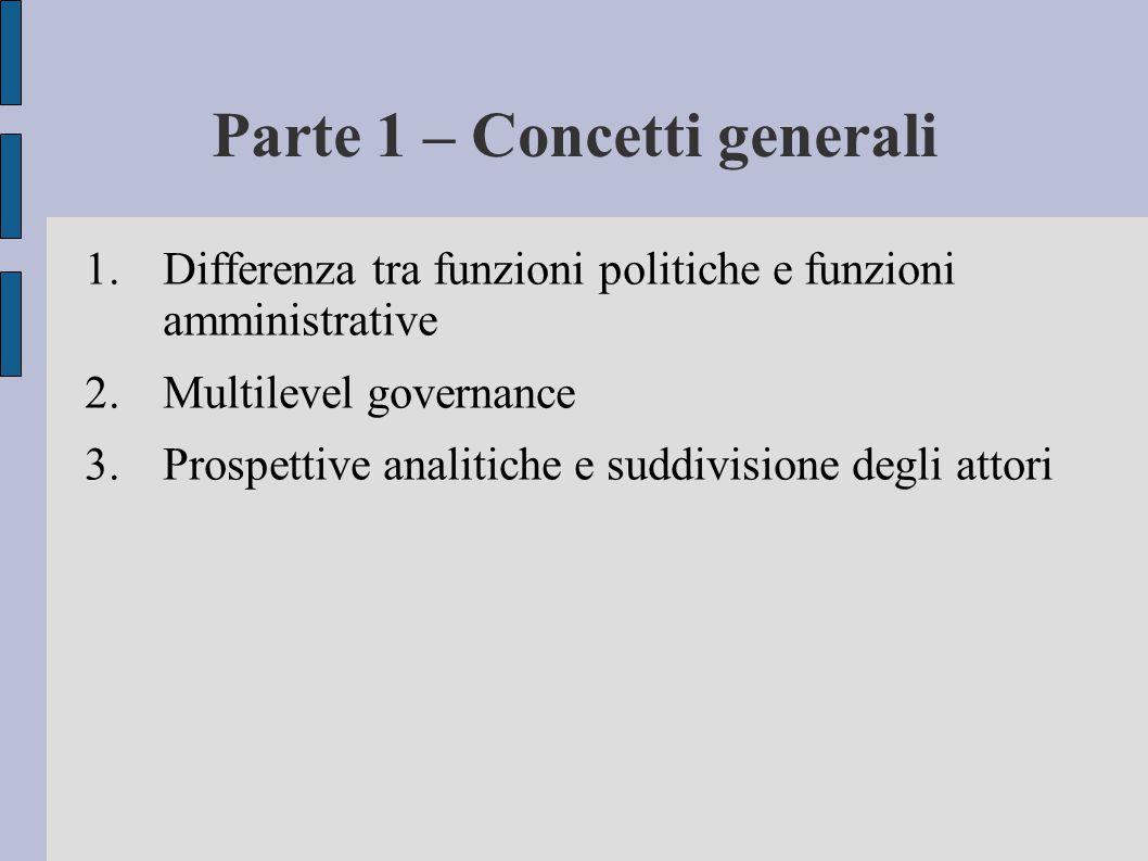 Parte 1 – Concetti generali 1.Differenza tra funzioni politiche e funzioni amministrative 2.Multilevel governance 3.Prospettive analitiche e suddivisi