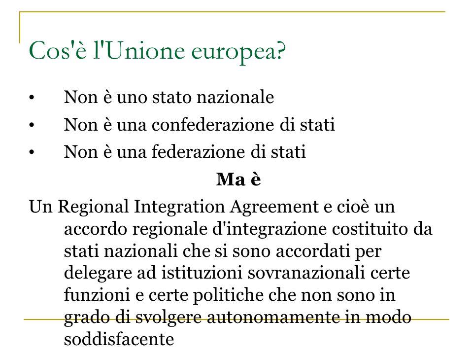 Cos'è l'Unione europea? Non è uno stato nazionale Non è una confederazione di stati Non è una federazione di stati Ma è Un Regional Integration Agreem