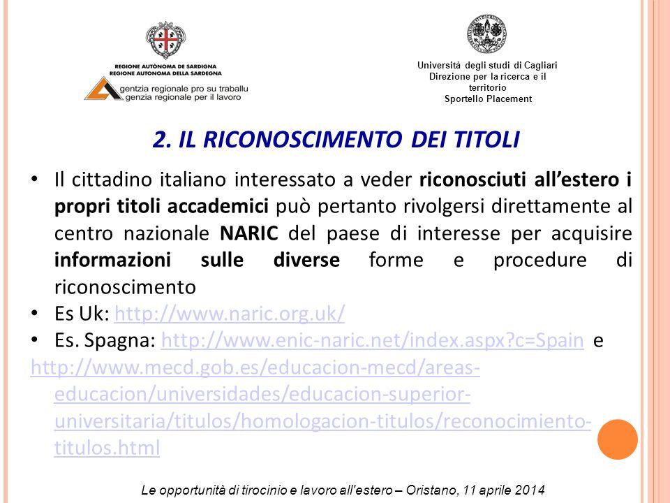 Università degli studi di Cagliari Direzione per la ricerca e il territorio Sportello Placement 2.