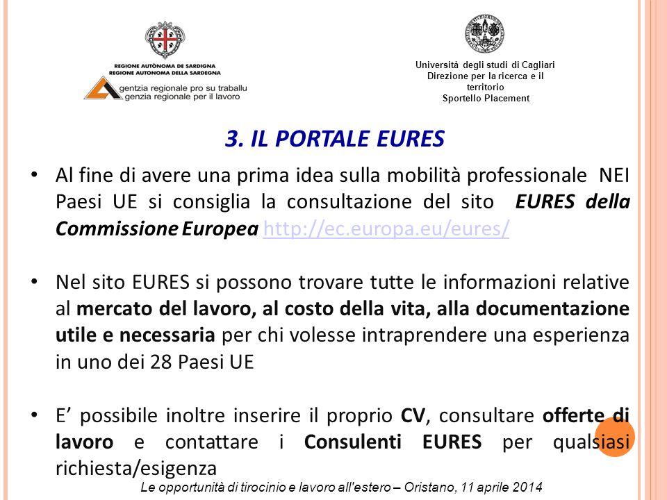Università degli studi di Cagliari Direzione per la ricerca e il territorio Sportello Placement 3.