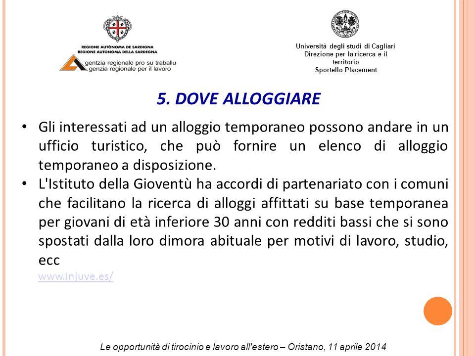 Università degli studi di Cagliari Direzione per la ricerca e il territorio Sportello Placement 5.