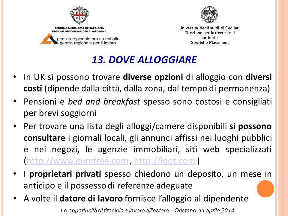 Università degli studi di Cagliari Direzione per la ricerca e il territorio Sportello Placement 13.