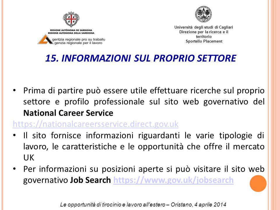 Università degli studi di Cagliari Direzione per la ricerca e il territorio Sportello Placement 15.