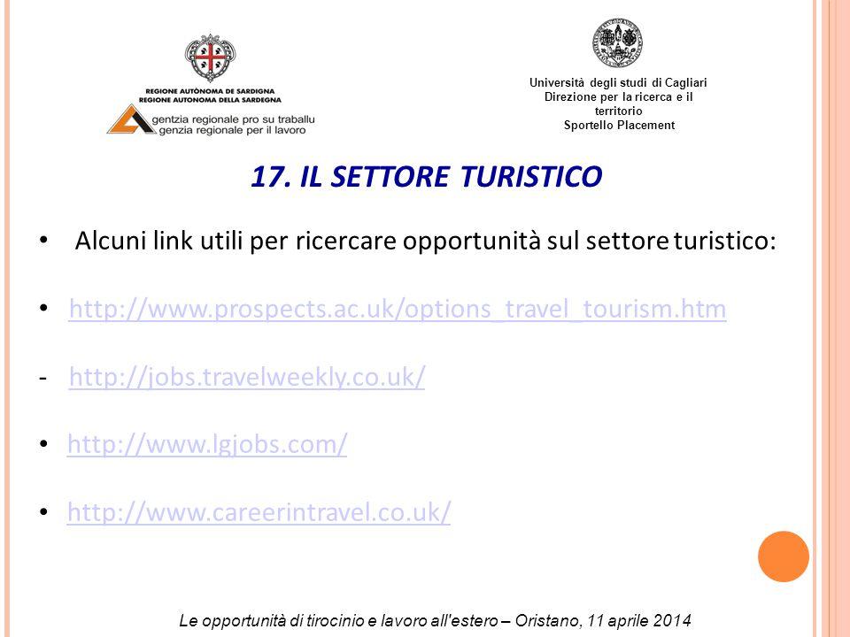 Università degli studi di Cagliari Direzione per la ricerca e il territorio Sportello Placement 17.
