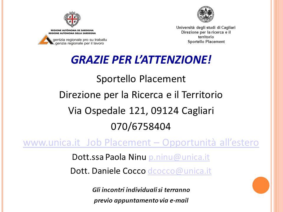 Università degli studi di Cagliari Direzione per la ricerca e il territorio Sportello Placement GRAZIE PER L'ATTENZIONE.