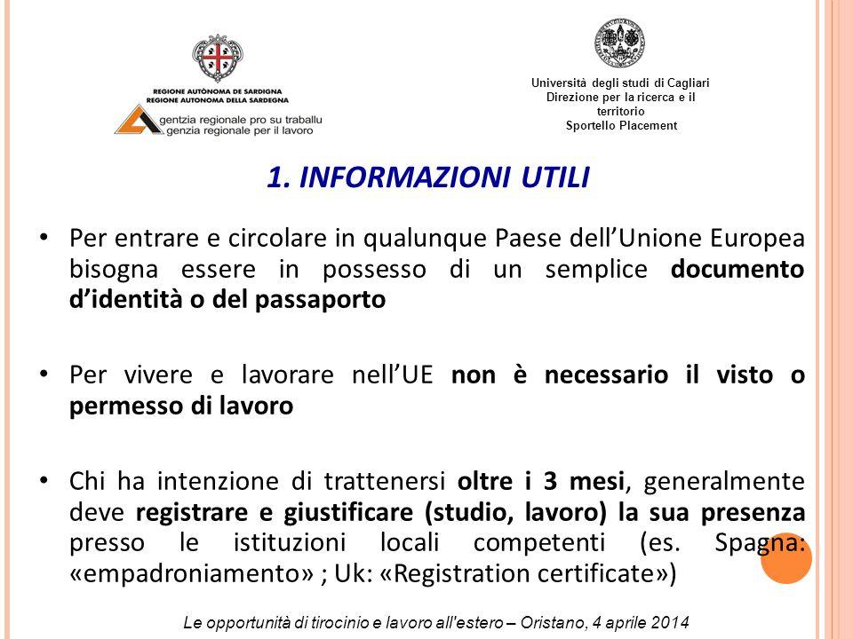 Università degli studi di Cagliari Direzione per la ricerca e il territorio Sportello Placement 1.