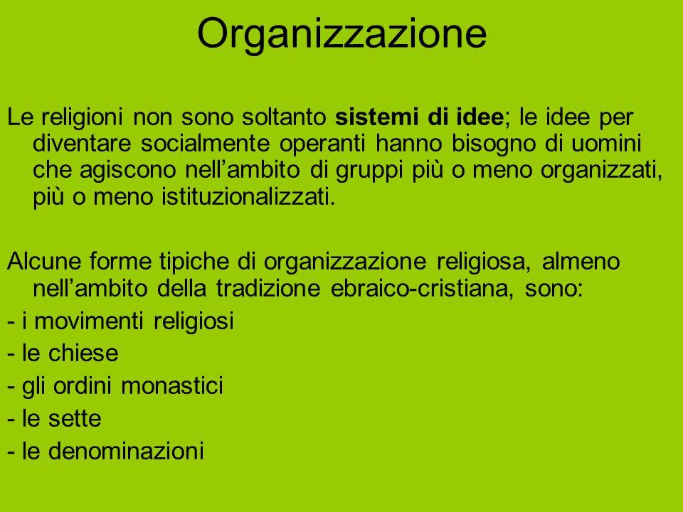 Organizzazione Le religioni non sono soltanto sistemi di idee; le idee per diventare socialmente operanti hanno bisogno di uomini che agiscono nell'am