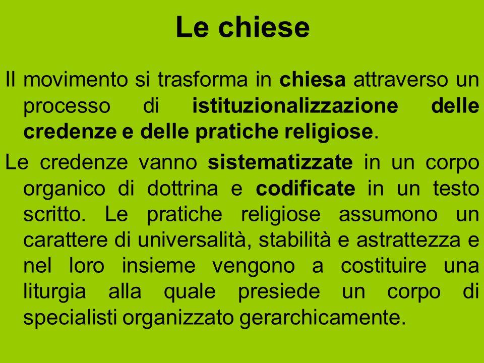 Le chiese Il movimento si trasforma in chiesa attraverso un processo di istituzionalizzazione delle credenze e delle pratiche religiose. Le credenze v