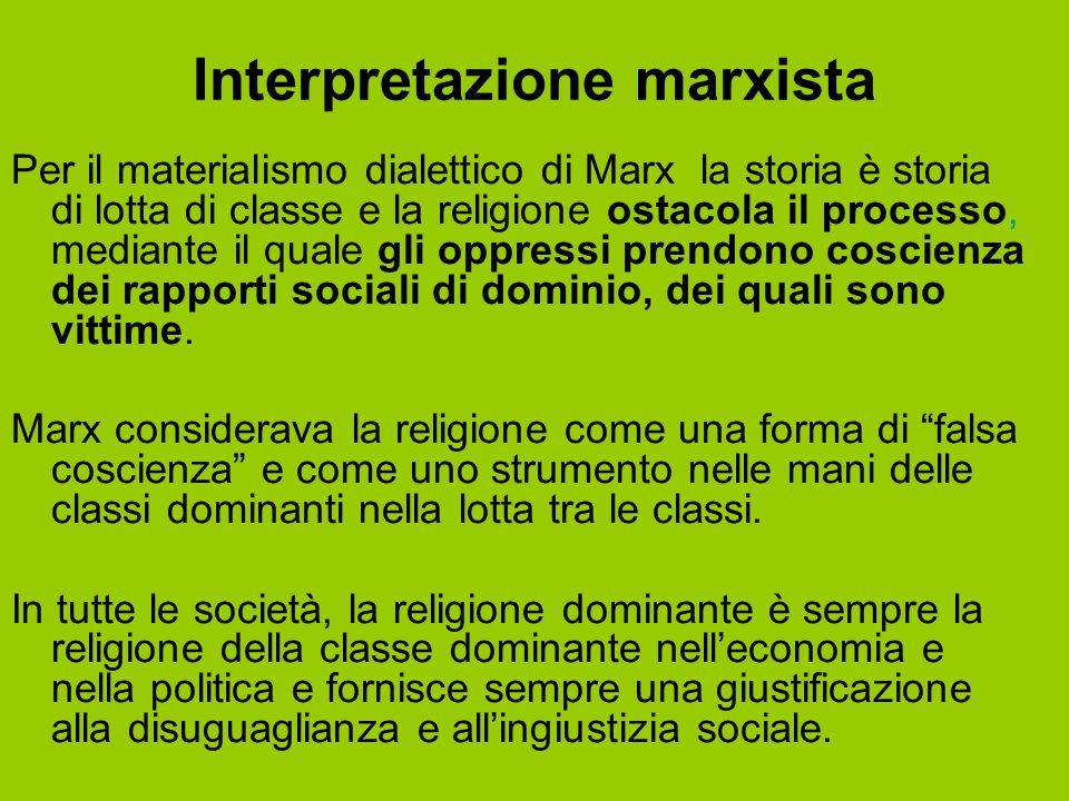 Interpretazione marxista Per il materialismo dialettico di Marx, la storia è storia di lotta di classe e la religione ostacola il processo, mediante i