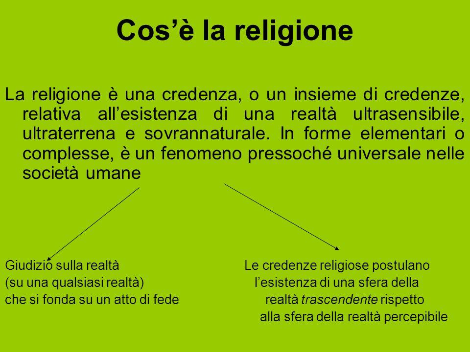 Cos'è la religione La religione è una credenza, o un insieme di credenze, relativa all'esistenza di una realtà ultrasensibile, ultraterrena e sovranna