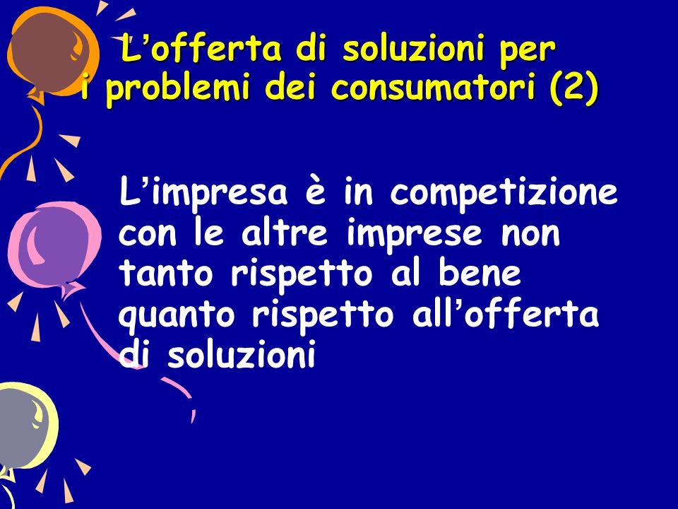 L'offerta di soluzioni per i problemi dei consumatori (2) L'impresa è in competizione con le altre imprese non tanto rispetto al bene quanto rispetto