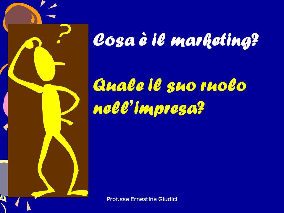 Prof.ssa Ernestina Giudici Cosa è il marketing? Quale il suo ruolo nell'impresa?