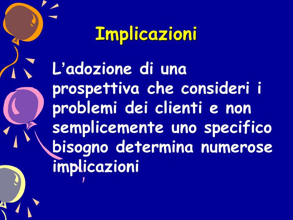 Implicazioni L'adozione di una prospettiva che consideri i problemi dei clienti e non semplicemente uno specifico bisogno determina numerose implicazi