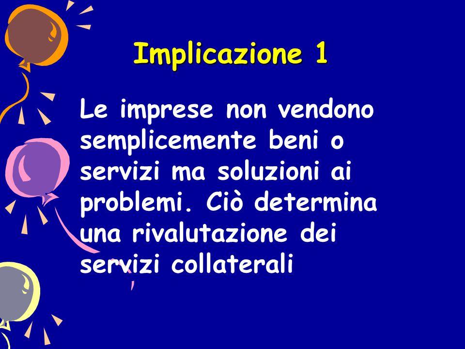 Implicazione 1 Le imprese non vendono semplicemente beni o servizi ma soluzioni ai problemi. Ciò determina una rivalutazione dei servizi collaterali