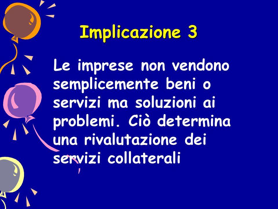 Implicazione 3 Le imprese non vendono semplicemente beni o servizi ma soluzioni ai problemi. Ciò determina una rivalutazione dei servizi collaterali