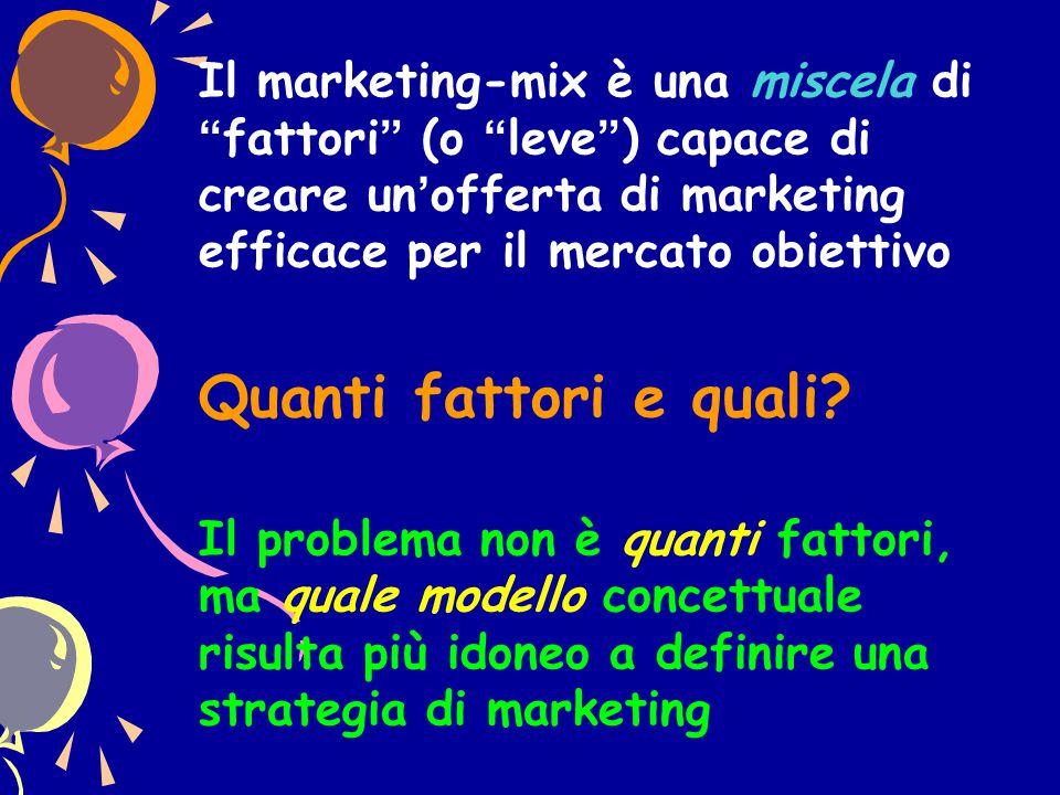 """Il marketing-mix è una miscela di """"fattori"""" (o """"leve"""") capace di creare un'offerta di marketing efficace per il mercato obiettivo Quanti fattori e qua"""