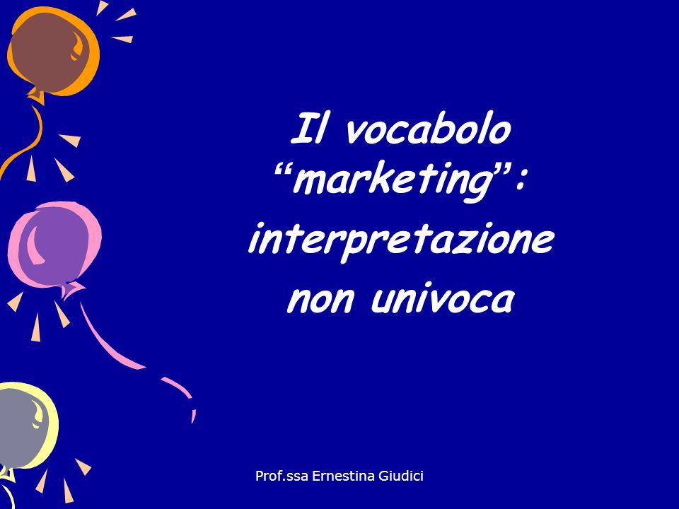 Prof.ssa Ernestina Giudici Desinenza ing in inglese indica azione Marketing implica azione, qualcosa in divenire
