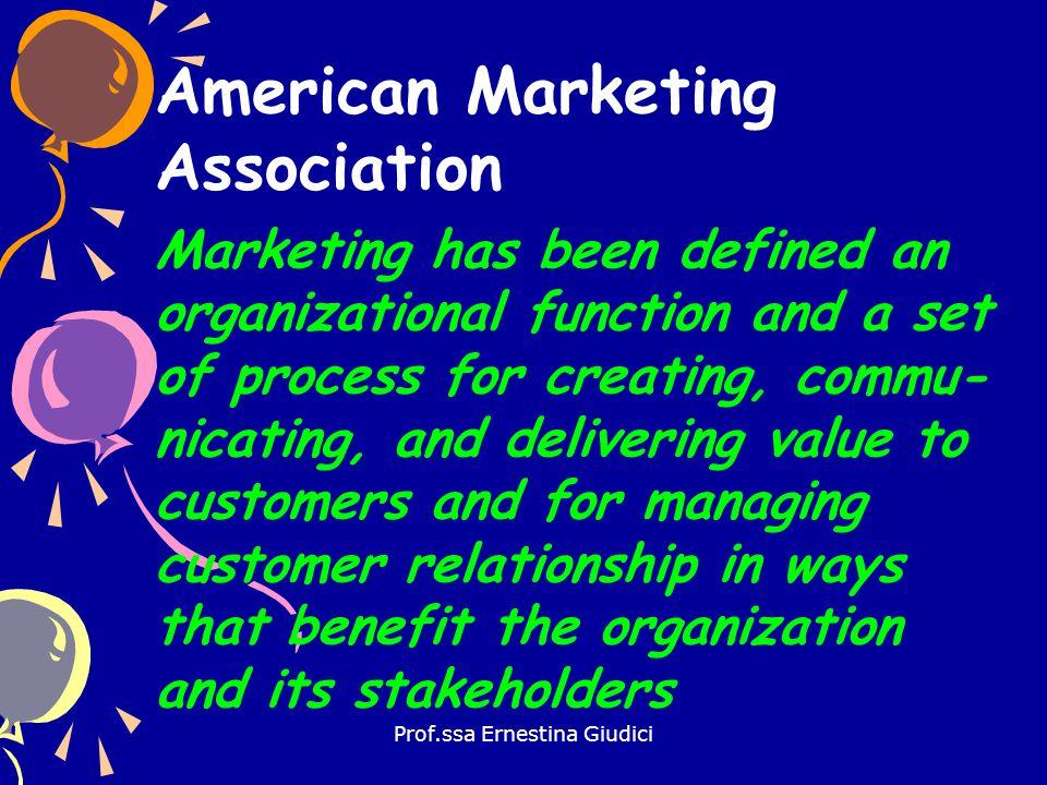 Prof.ssa Ernestina Giudici Evoluzione del concetto di marketing