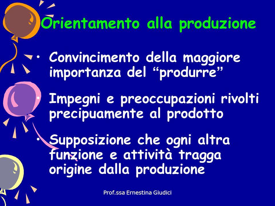 """Prof.ssa Ernestina Giudici Convincimento della maggiore importanza del """"produrre"""" Impegni e preoccupazioni rivolti precipuamente al prodotto Supposizi"""