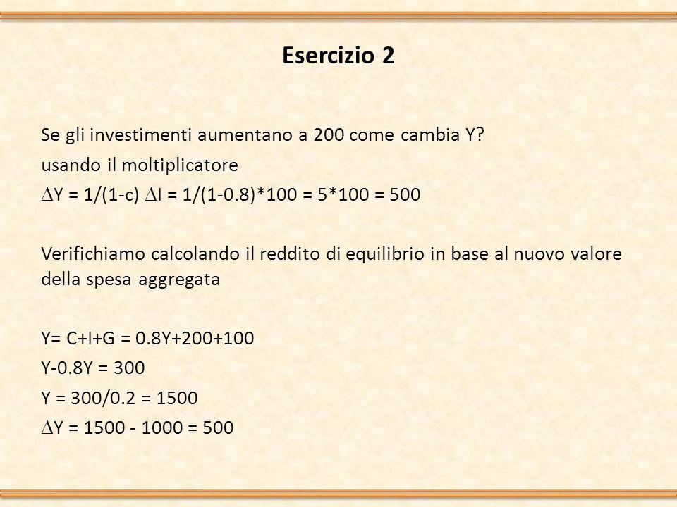 Esercizio 3 Partendo dai dati dell esercizio 1 ipotizziamo che la propensione marginale al consumo si riduca a 0.5 come varia il reddito.