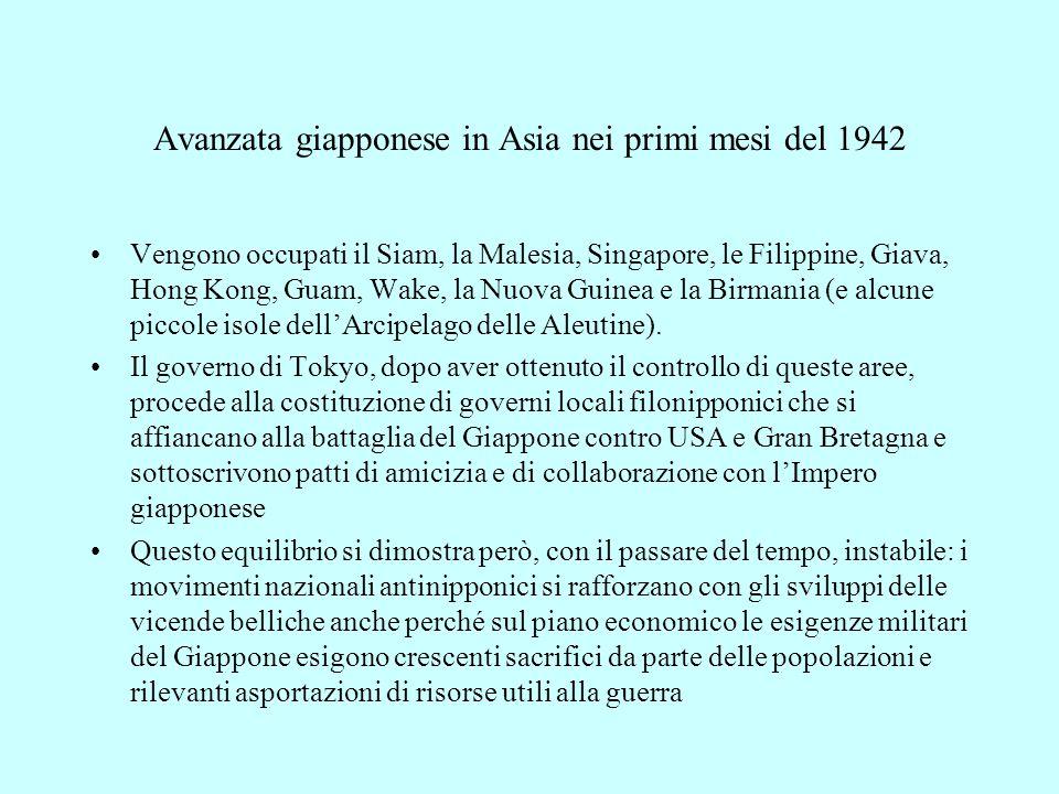 Avanzata giapponese in Asia nei primi mesi del 1942 Vengono occupati il Siam, la Malesia, Singapore, le Filippine, Giava, Hong Kong, Guam, Wake, la Nu