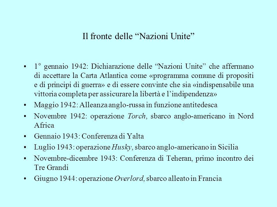"""Il fronte delle """"Nazioni Unite"""" 1° gennaio 1942: Dichiarazione delle """"Nazioni Unite"""" che affermano di accettare la Carta Atlantica come «programma com"""