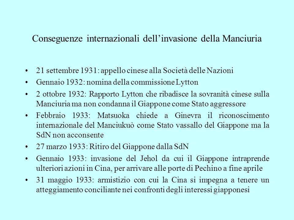 Conseguenze internazionali dell'invasione della Manciuria 21 settembre 1931: appello cinese alla Società delle Nazioni Gennaio 1932: nomina della comm