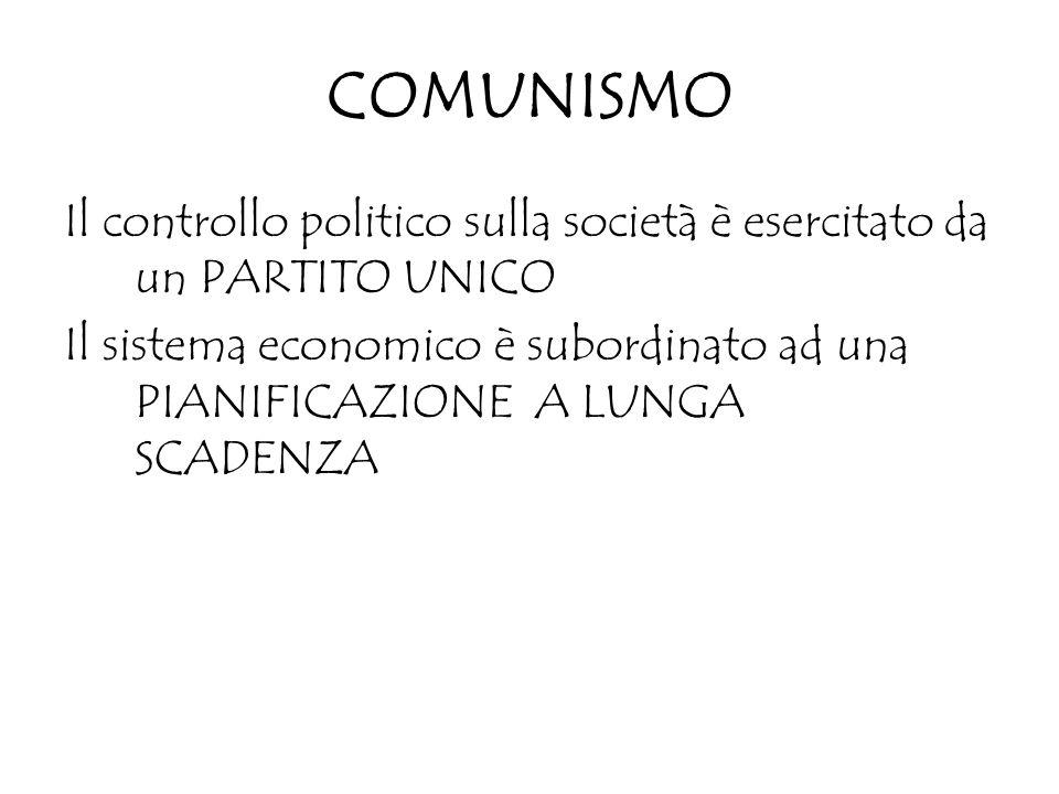 COMUNISMO Il controllo politico sulla società è esercitato da un PARTITO UNICO Il sistema economico è subordinato ad una PIANIFICAZIONE A LUNGA SCADEN