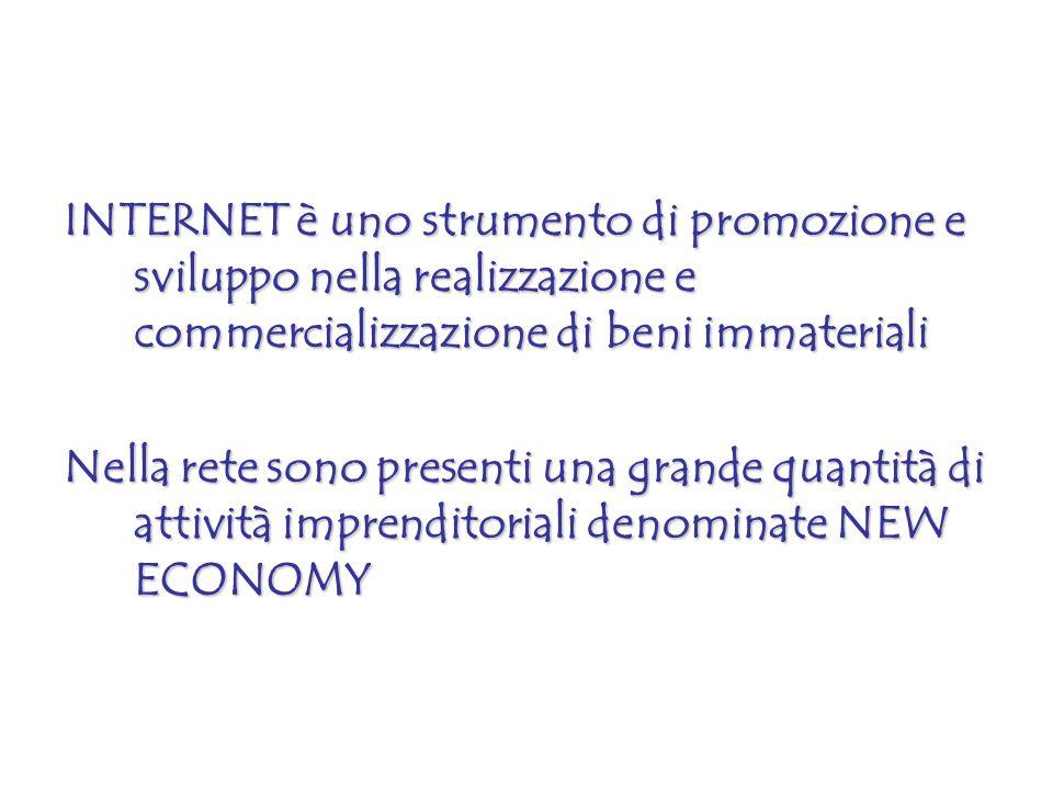 INTERNET è uno strumento di promozione e sviluppo nella realizzazione e commercializzazione di beni immateriali Nella rete sono presenti una grande qu