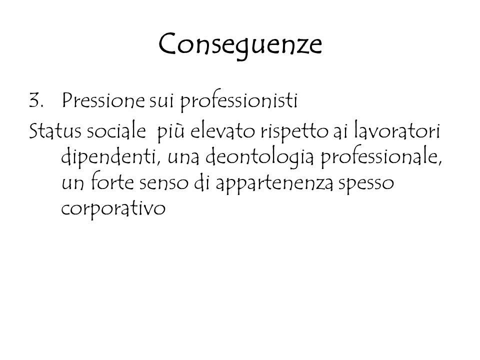 Conseguenze 3.Pressione sui professionisti Status sociale più elevato rispetto ai lavoratori dipendenti, una deontologia professionale, un forte senso