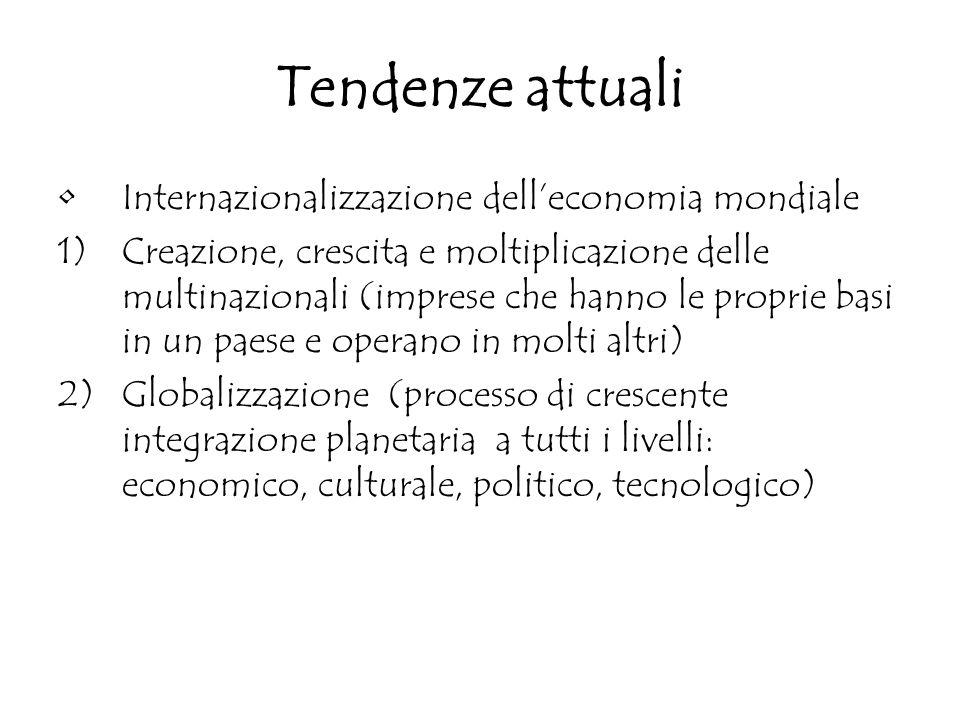 Tendenze attuali Internazionalizzazione dell'economia mondiale 1)Creazione, crescita e moltiplicazione delle multinazionali (imprese che hanno le prop