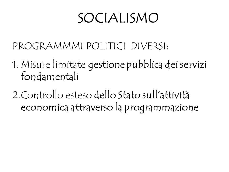 SOCIALISMO PROGRAMMMI POLITICI DIVERSI: 1.Misure limitate gestione pubblica dei servizi fondamentali 2.Controllo esteso dello Stato sull'attività econ