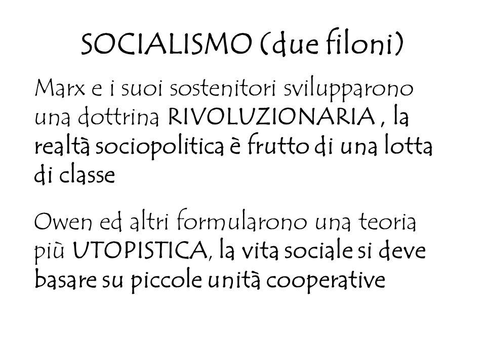 SOCIALISMO (due filoni) Marx e i suoi sostenitori svilupparono una dottrina RIVOLUZIONARIA, la realtà sociopolitica è frutto di una lotta di classe Ow