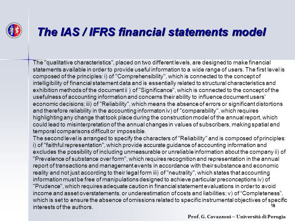 18 Prof. G. Cavazzoni – Università di Perugia The IAS / IFRS financial statements model The