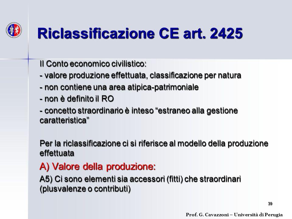39 Il Conto economico civilistico: - valore produzione effettuata, classificazione per natura - non contiene una area atipica-patrimoniale - non è definito il RO - concetto straordinario è inteso estraneo alla gestione caratteristica Per la riclassificazione ci si riferisce al modello della produzione effettuata A) Valore della produzione: A5) Ci sono elementi sia accessori (fitti) che straordinari (plusvalenze o contributi) Riclassificazione CE art.
