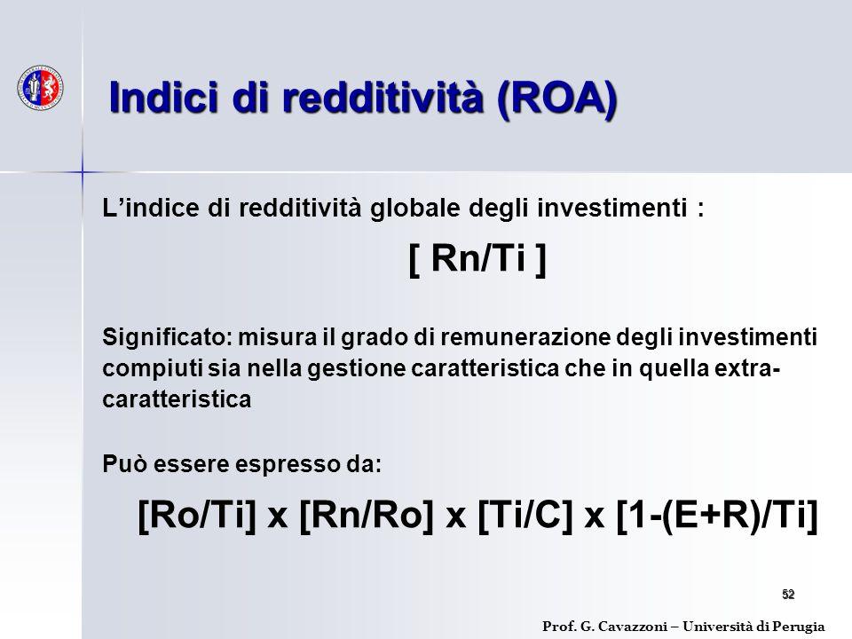 52 L'indice di redditività globale degli investimenti : [ Rn/Ti ] Significato: misura il grado di remunerazione degli investimenti compiuti sia nella gestione caratteristica che in quella extra- caratteristica Può essere espresso da: [Ro/Ti] x [Rn/Ro] x [Ti/C] x [1-(E+R)/Ti] Indici di redditività (ROA) Prof.