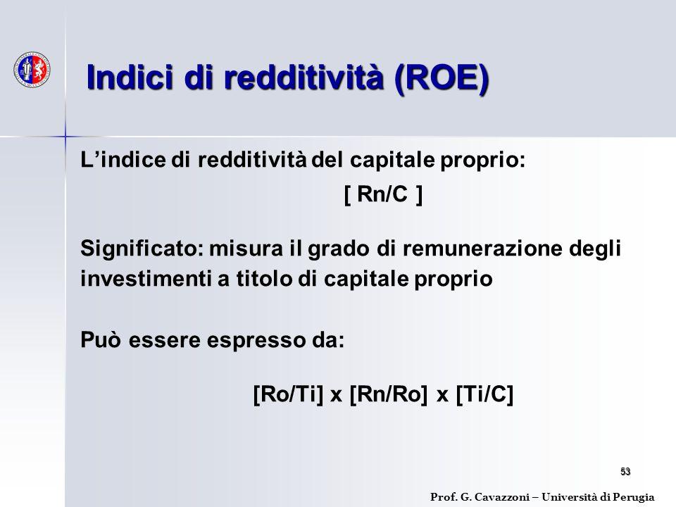 53 L'indice di redditività del capitale proprio: [ Rn/C ] Significato: misura il grado di remunerazione degli investimenti a titolo di capitale proprio Può essere espresso da: [Ro/Ti] x [Rn/Ro] x [Ti/C] Indici di redditività (ROE) Prof.