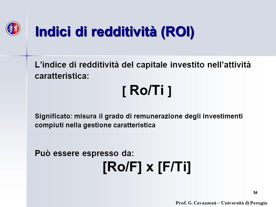 54 L'indice di redditività del capitale investito nell'attività caratteristica: [ Ro/Ti ] Significato: misura il grado di remunerazione degli investimenti compiuti nella gestione caratteristica Può essere espresso da: [Ro/F] x [F/Ti] Indici di redditività (ROI) Prof.