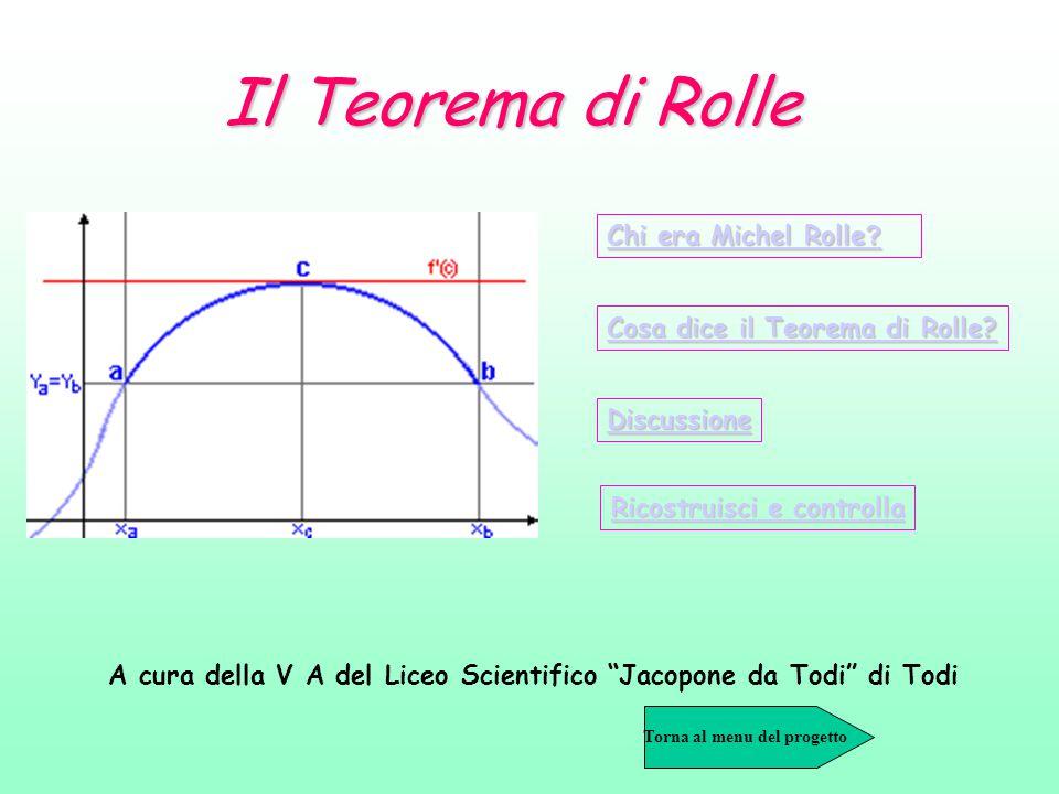 Il Teorema di Rolle Chi era Michel Rolle ? Chi era Michel Rolle ? Cosa dice il Teorema di Rolle? Cosa dice il Teorema di Rolle? Discussione Ricostruis