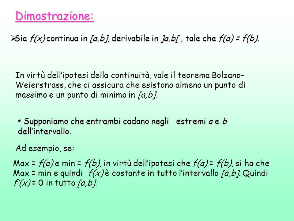 Dimostrazione:  Sia f(x) continua in [a,b], derivabile in ]a,b[, tale che f(a) = f(b). In virtù dell'ipotesi della continuità, vale il teorema Bolzan