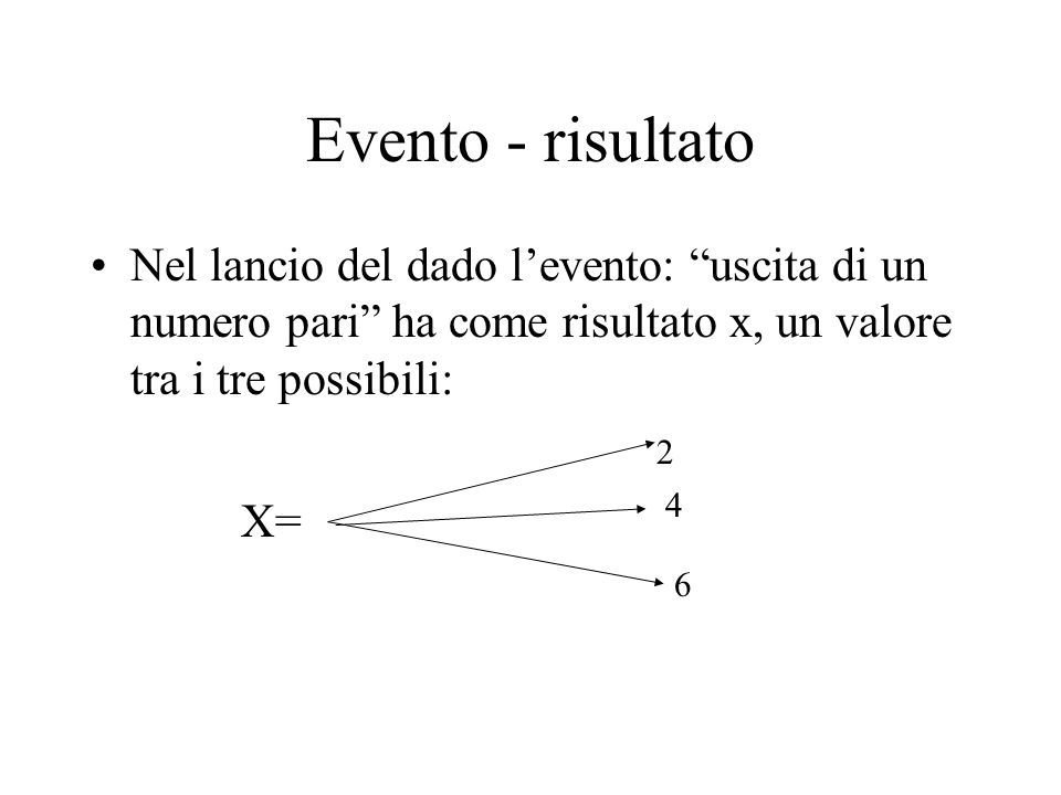 Evento - risultato Nel lancio del dado l'evento: uscita di un numero pari ha come risultato x, un valore tra i tre possibili: X= 6 2 4