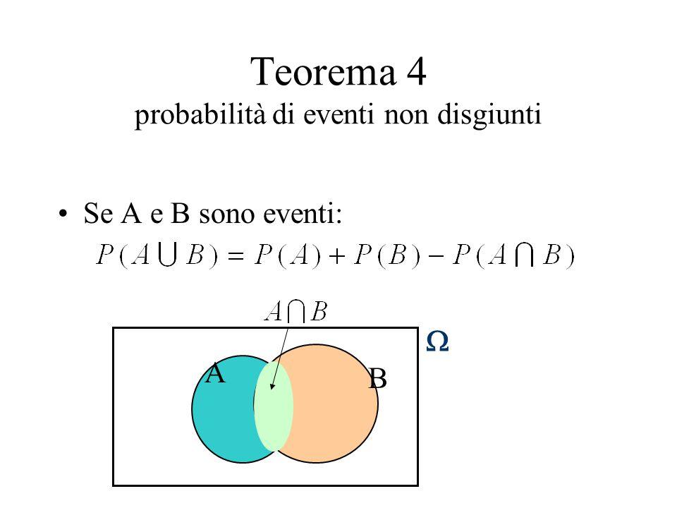 Teorema 4 probabilità di eventi non disgiunti Se A e B sono eventi: A  B