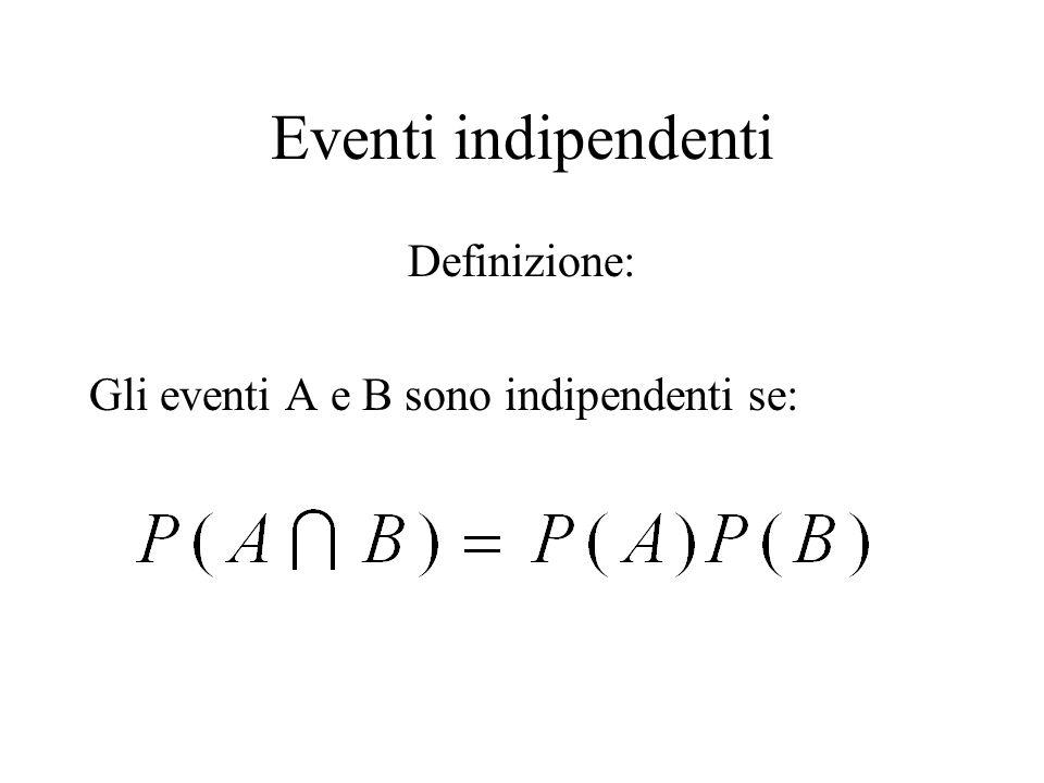Eventi indipendenti Definizione: Gli eventi A e B sono indipendenti se:
