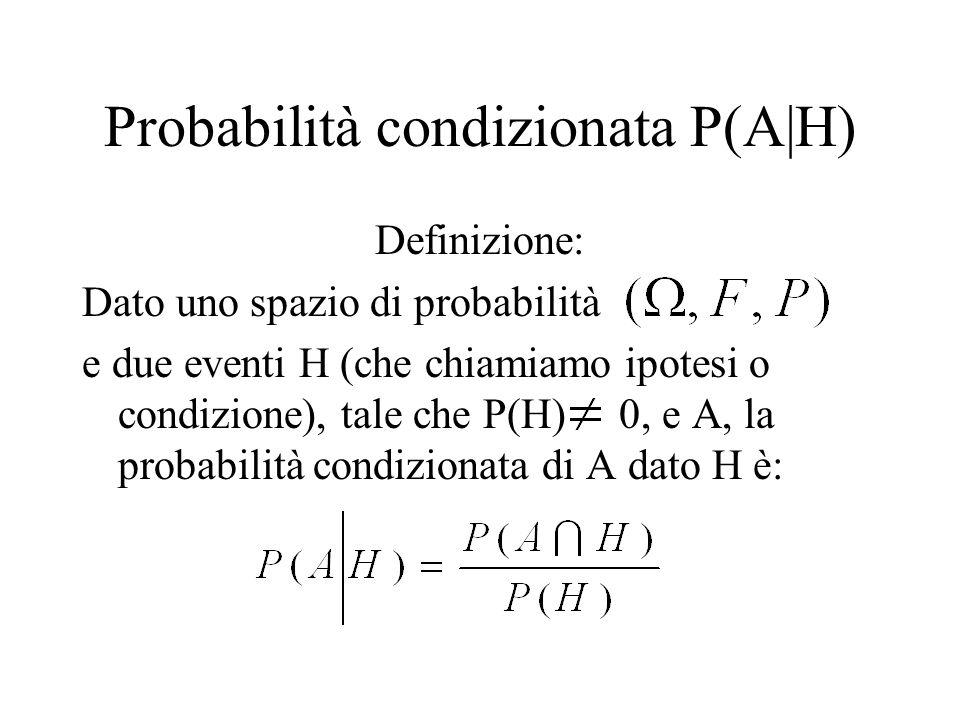 Probabilità condizionata P(A|H) Definizione: Dato uno spazio di probabilità e due eventi H (che chiamiamo ipotesi o condizione), tale che P(H) 0, e A, la probabilità condizionata di A dato H è: