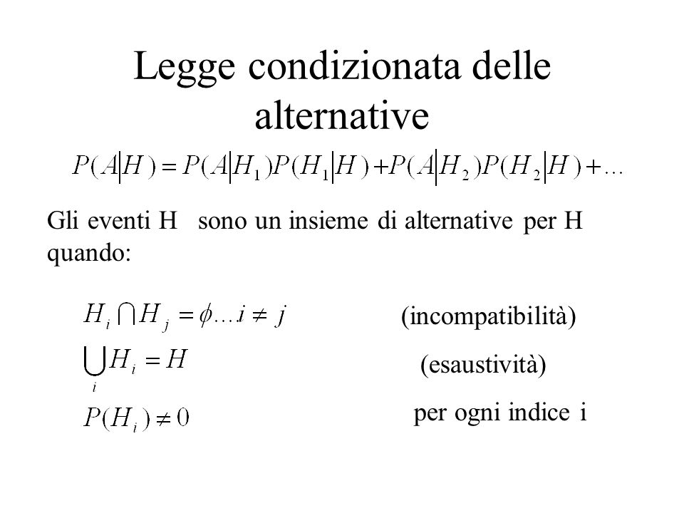 Legge condizionata delle alternative Gli eventi H sono un insieme di alternative per H quando: (incompatibilità) (esaustività) per ogni indice i