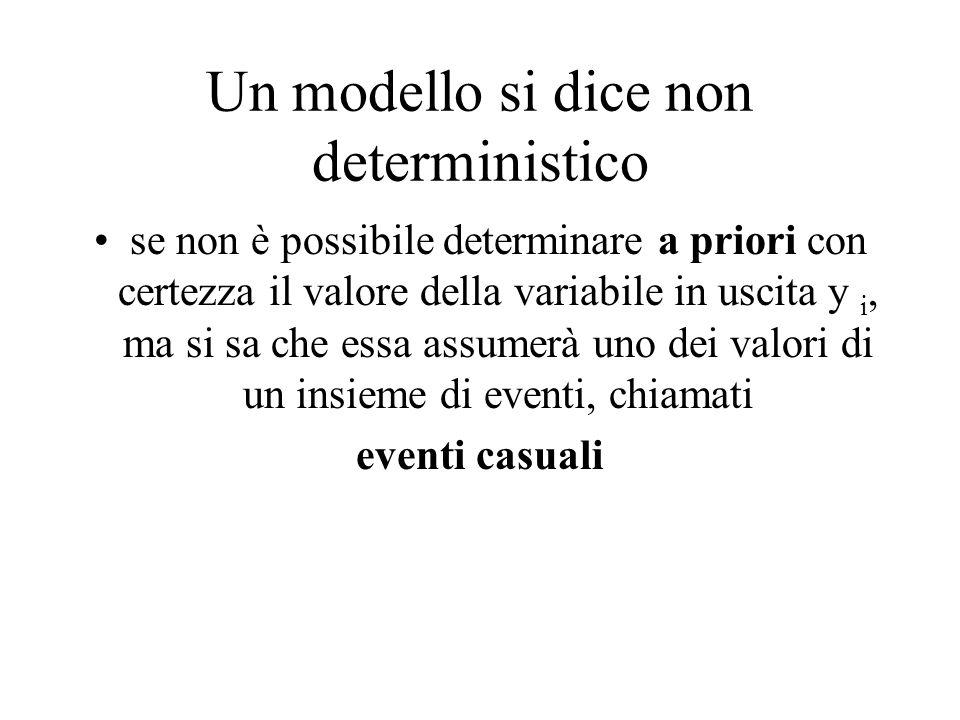 Un modello si dice non deterministico se non è possibile determinare a priori con certezza il valore della variabile in uscita y i, ma si sa che essa
