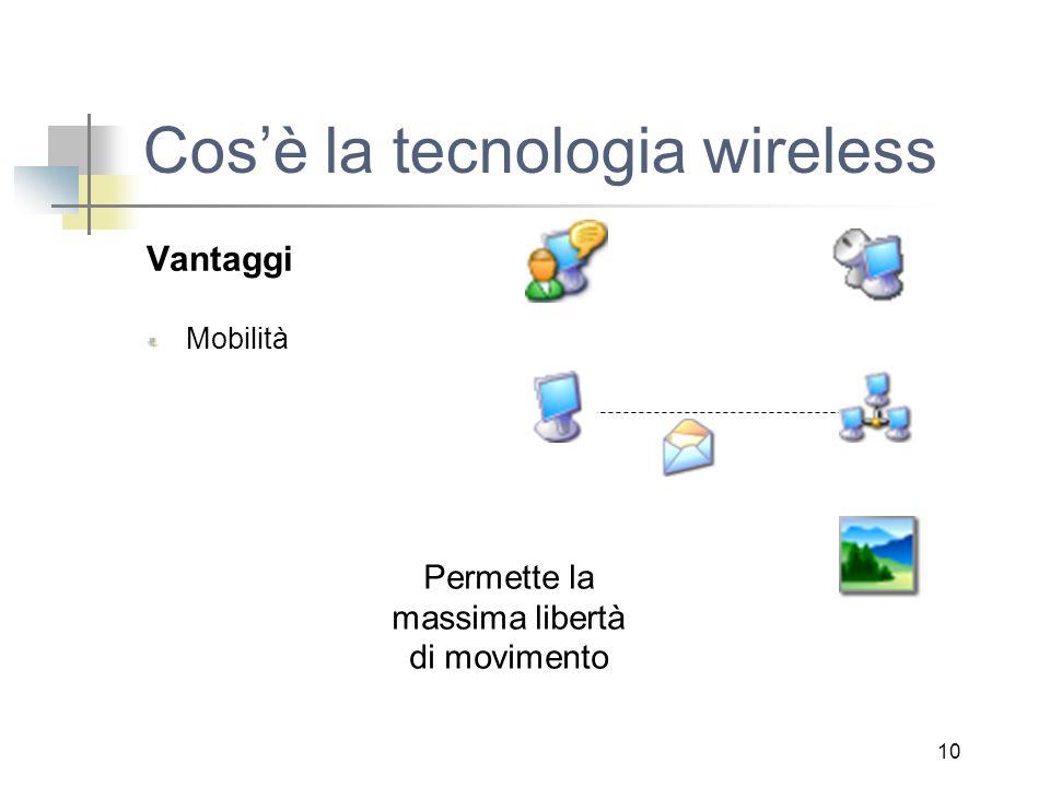 10 Cos'è la tecnologia wireless Vantaggi Mobilità Permette la massima libertà di movimento