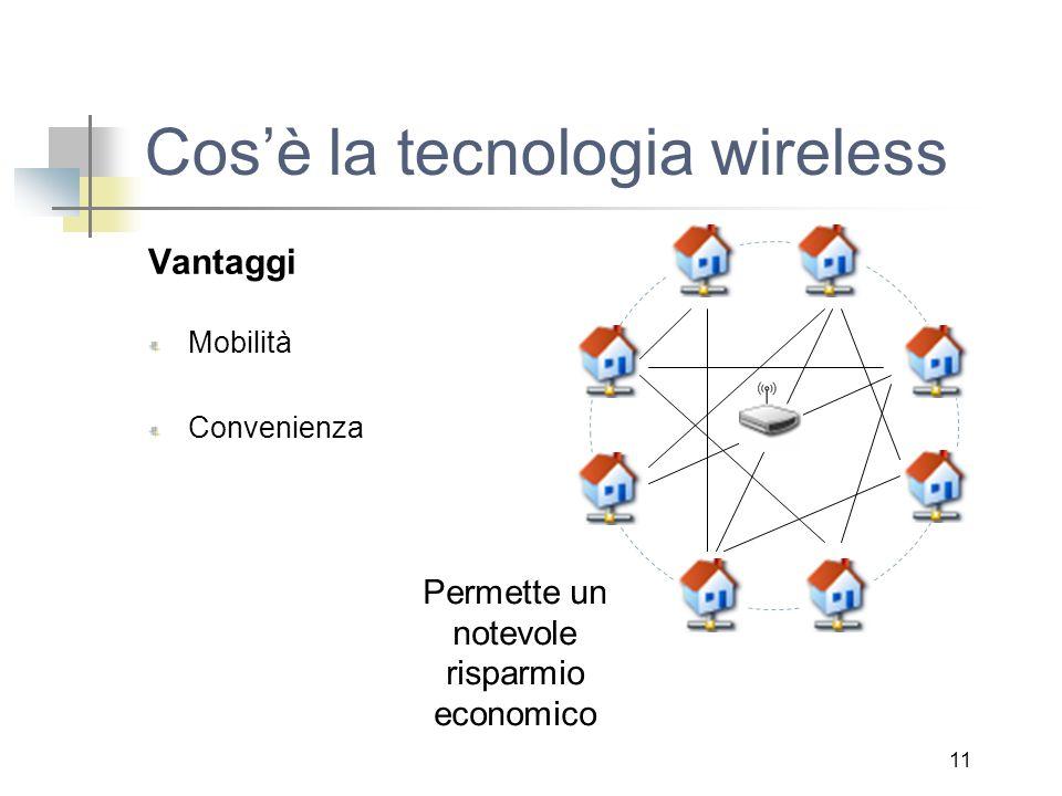 11 Cos'è la tecnologia wireless Vantaggi Mobilità Convenienza Permette un notevole risparmio economico