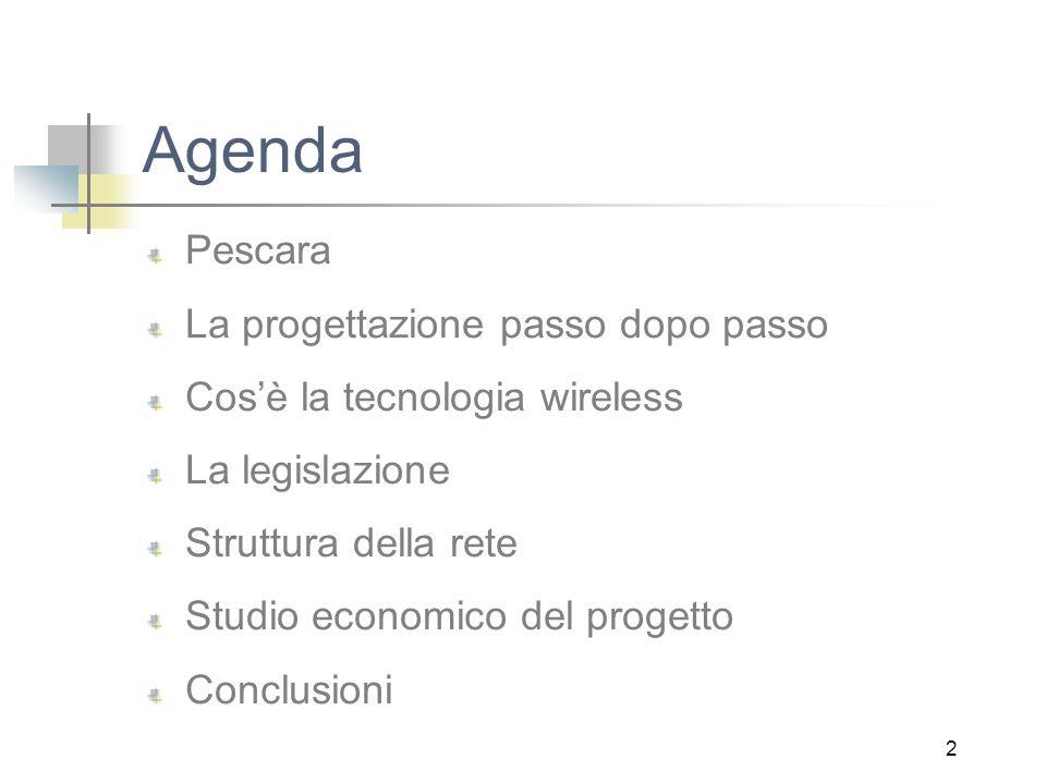2 Agenda Pescara La progettazione passo dopo passo Cos'è la tecnologia wireless La legislazione Struttura della rete Studio economico del progetto Conclusioni